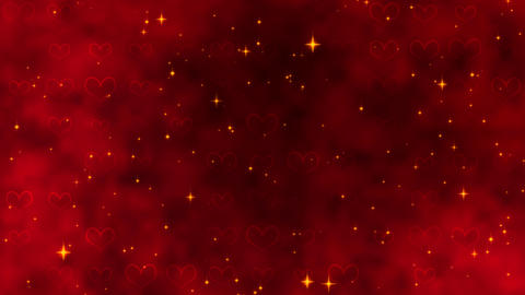 Red pattern with golden confetti, stars and red hearts. For St. Valentines Day Animation