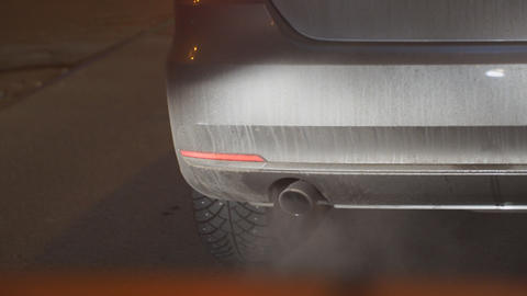 Smoke from the car's exhaust pipe Live Action