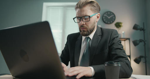 Businessman Working on Laptop Live Action