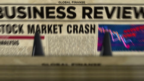 Business review newspapers with market crash printing loopable Animation