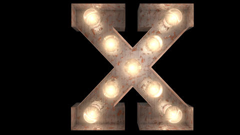 rusty steel blinking light bulb letters X 2 Animation