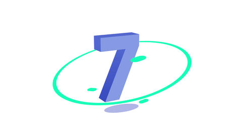 Colorful Animated 10 to 1 Countdown in a Solid White Background Animation