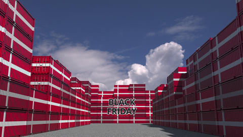 Cargo containers with BLACK FRIDAY text and flags of Denmark. Danish commerce Live Action
