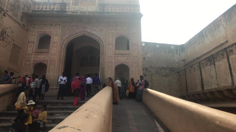 Jaipur, India, November 05, 2019, Amer Fort, tourists relax on the steps of a Live Action