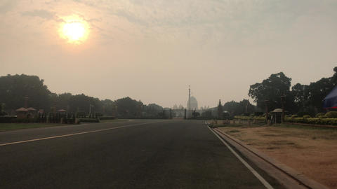 New Delhi, India, November 11, 2019, urban smog covers the sun over the city Live Action