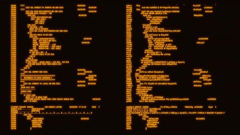 Orange Hacker Text - Database Encryption Decryption Motion Background Animation