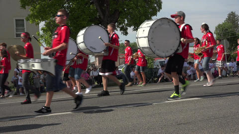 Parade rural high school marching band 4K Footage