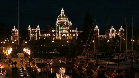 Parliament Building Victoria BC Canada marina night fast timelapse 7941 Footage