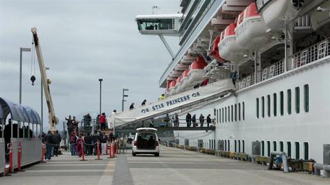 Passengers boarding cruise ship in Ketchikan Alaska HD 7659 Footage