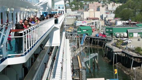 Passengers on cruise ship at Juneau Alaska port HD 6971 Footage