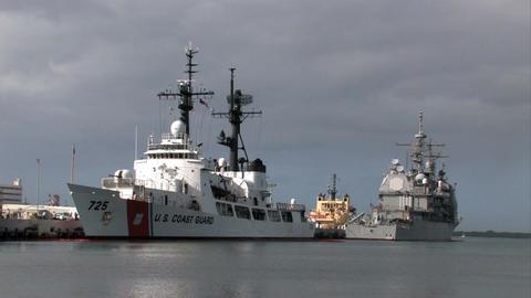 Pearl Harbor Coast Guard Navy ships Honolulu Hawaii M HD Footage