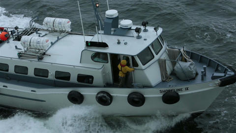 Pilot navigation boat along side of cruise ship action HD 7688 Footage