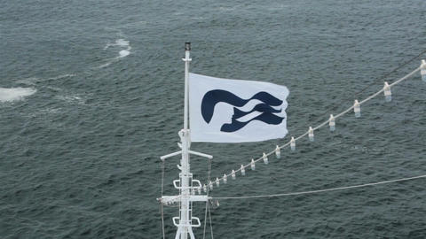 Princess cruise ship logo flag on boats bow Pacific Ocean HD 6847 Footage