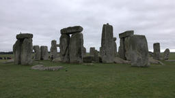 Prehistoric Stonehenge tourists Amesbury England 4K Footage