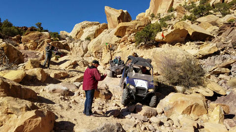 Recreation 4x4 atv climb boulder rocky trail 4K Footage
