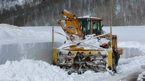 Repair broken snow blower winter mountain road HD 2323 Footage