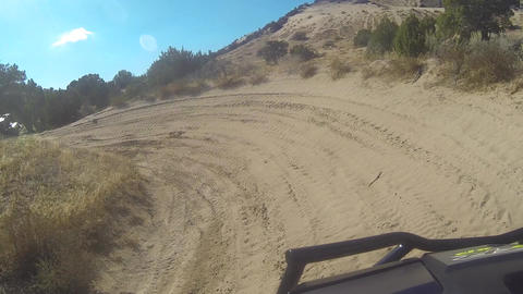 Riding 4x4 off road dusty windy trail following POV HD Footage