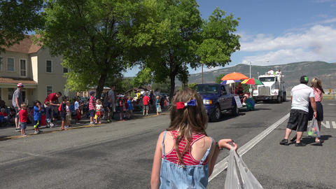 Rural community parade kids and candy fast time lapse 4K 231 Footage
