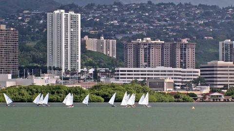Sailboats Pearl Harbor Hawaii HD Footage