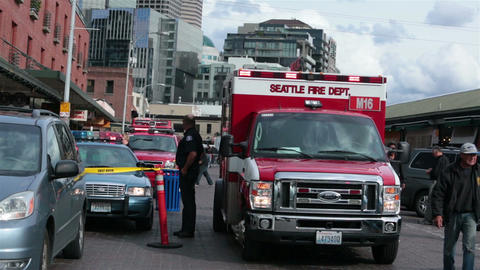 Seattle fire department ambulance emergency crime HD 6737 Footage