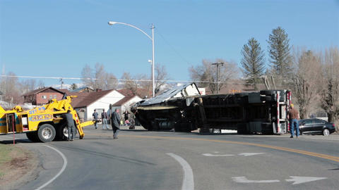 Semi truck trailer rollover accident flip HD 2443 Footage