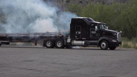 Semi truck trailer burn smoke pollution 4K Footage