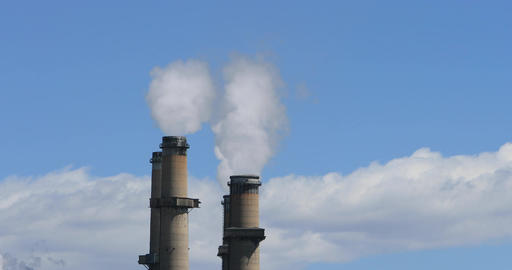 Smoke pollution power plant stacks DCI 4K Footage