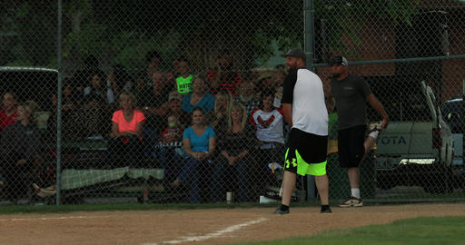 Softball batter strike out rural community game DCI 4K Footage