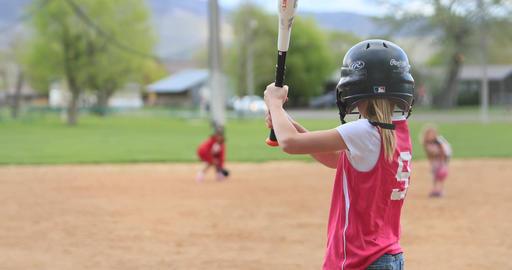Softball young girl hit and run rural community DCI 4K GIF