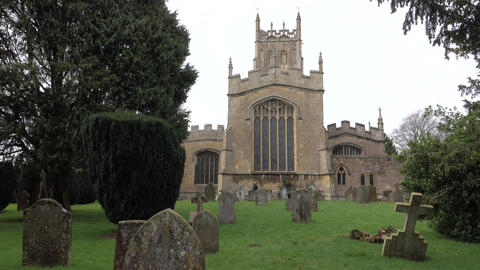 St James Church Cemetery steeple woman Chipping Campden England 4K Footage