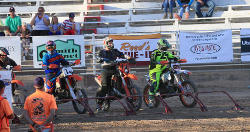 Starting gate extreme motorcycle race DCI 4K Footage