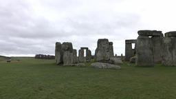 Stonehenge prehistoric monument Amesbury England pan 4K Footage