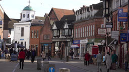 Stratford Upon Avon business shopper town center England 4K Footage