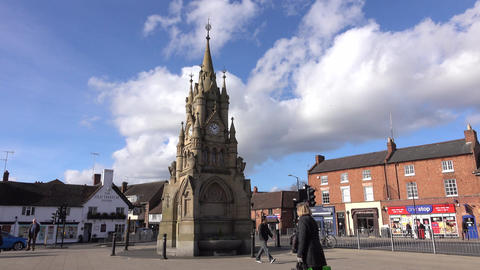 Stratford Upon Avon city center monument people England 4K Footage