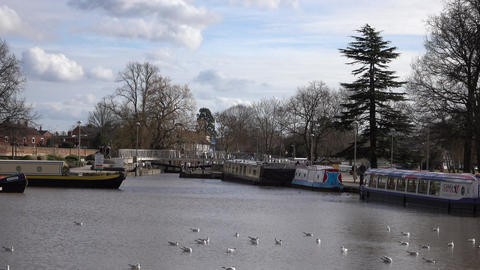 Stratford Upon Avon river canal boats park England 4K Footage