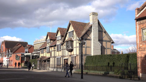 Stratford Upon Avon historic William Shakespeare Home 4K Footage