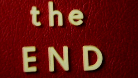 The End vintage film ending title red HD D002 Footage
