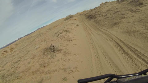 Trail riding 4x4 sport vehicle desert landscape HD Live Action