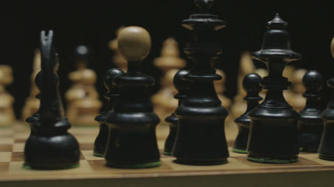 Chess board with classic wood pieces 002 Footage
