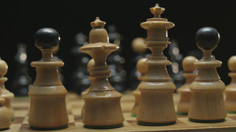 Chess board with classic wood pieces 004 Footage