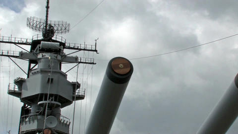 USS Missouri guns zoom out battleship Hawaii warrior HD Footage