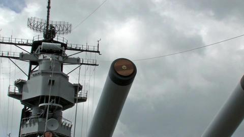 USS Missouri guns zoom out battleship Hawaii warrior HD Footage