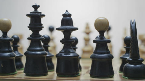 Chess board with classic wood pieces 012 Footage