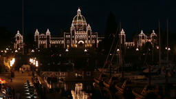 Victoria BC Canada Parliament Building marina night fast timelapse 7940 Footage