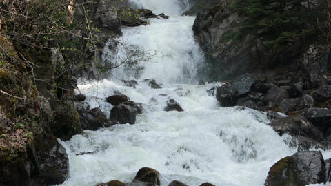 Waterfall Reid Falls Skagway Alaska rushing water HD 7153 Footage