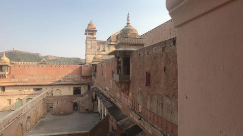Jaipur, India, November 05, 2019, Amer Fort ancient walls of ancient fortress Live Action