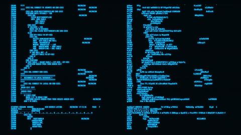 Blue Hacker Text - Database Encryption Decryption Motion Background Animation