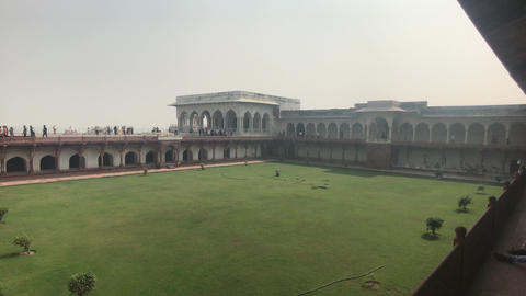 Agra, India, November 10, 2019, Agra Fort, view of the tourist viewing platform Live Action