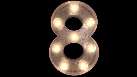 rusty steel blinking light bulb letters 8-2 Animation