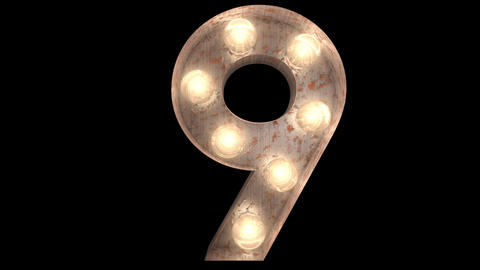 rusty steel blinking light bulb letters 9-2 Animation